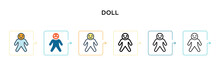 Doll Vector Icon In 6 Differen...