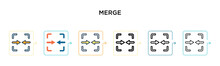 Merge Vector Icon In 6 Differe...