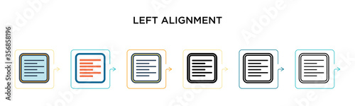 Photo Left alignment vector icon in 6 different modern styles
