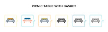 Picnic Table With Basket Vecto...