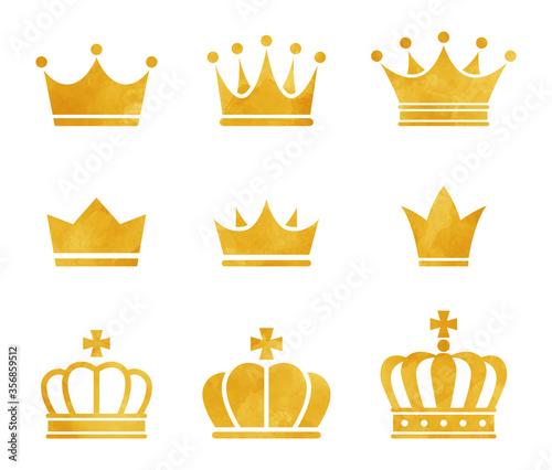 Fototapeta 水彩画の王冠のアイコンセット obraz