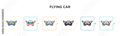 Photo Flying car vector icon in 6 different modern styles