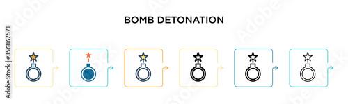 Fotografia Bomb detonation vector icon in 6 different modern styles