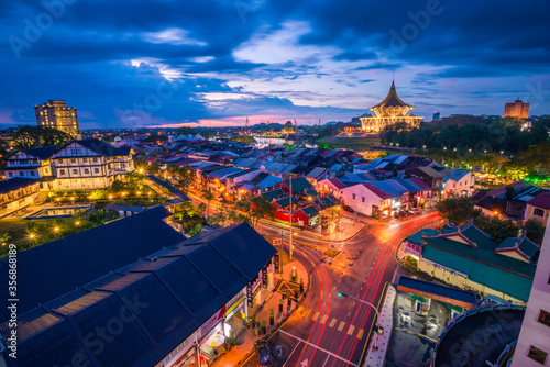 Photo Night view of Kuching city skyline, Sarawak