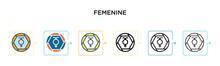 Femenine Vector Icon In 6 Diff...