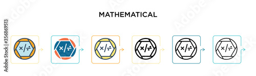 Photo Mathematical symbols vector icon in 6 different modern styles