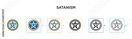 Satanism vector icon in 6 different modern styles Canvas Print