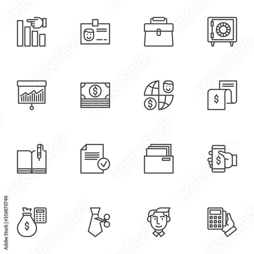 Fotomural Banking business line icons set, outline vector symbol collection, linear style pictogram pack