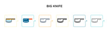 Big Knife Vector Icon In 6 Dif...