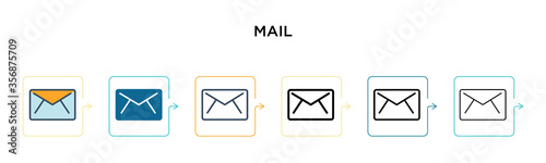 Cuadros en Lienzo Mail vector icon in 6 different modern styles
