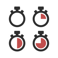 Set Of Timer Vector Icon. Stop...