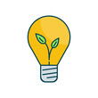 Eco light bulb friendly vector illustration. Outline style icon. Technology and smart work icon.