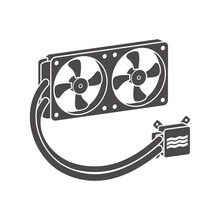 Two-fan Liquid Cooling System For PC Icon. Vector Illustration.