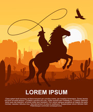 Wild West Texas Poster With Desert Landscape, Cowboy On Horse, Mountains, Cactus And Eagle In The Sky. Silhouette Vector Illustration In Flat Cartoon Style.