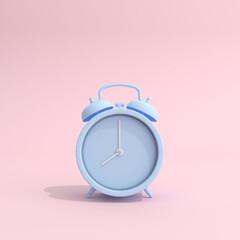 Mock up of blue alarm clock on pink background. 3d rendering.