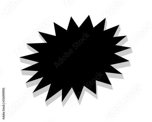 Valokuva stickers black star for discount price message, chat label serrated shape, stick