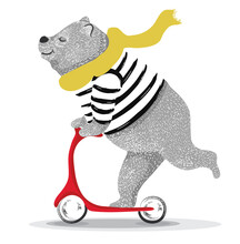 Cute Funny Bear  Vector Illust...