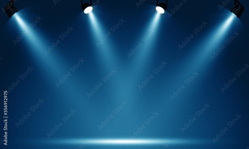 Fototapeta Spotlights illuminate empty stage