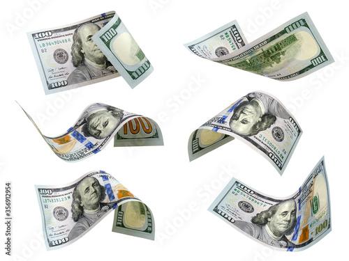 Set of flying dollars banknotes Canvas-taulu