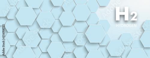 Obraz na plátně White Hexagon Structure Left H2 Hydrogen Edge Header