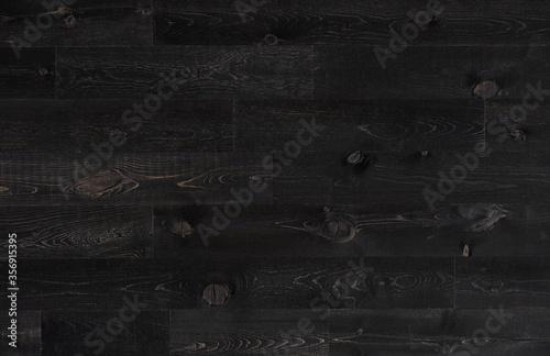 Fototapeta Deep black wood plank seamless texture for floor and wall obraz