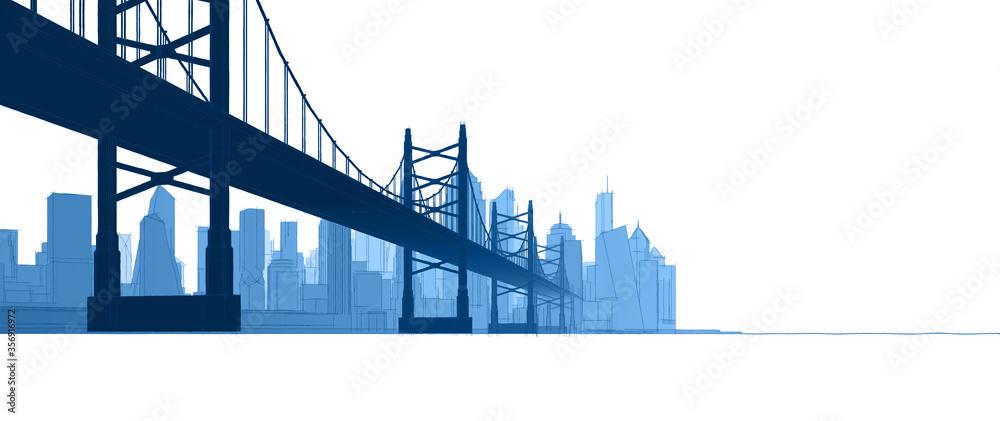 modern city architectural landscape sketch 3d illustration