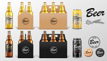Realistic Set Of Glass Beer Bo...