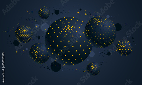 Photo Abstract black and yellow dotted spheres vector background, composition of flyin