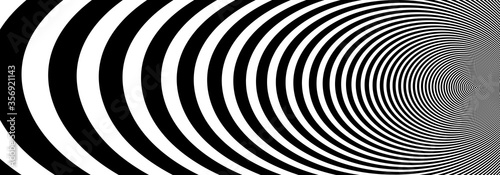 Fényképezés Abstract op art black and white lines in hyper 3D perspective vector abstract background, artistic illustration psychedelic linear pattern, hypnotic optical illusion