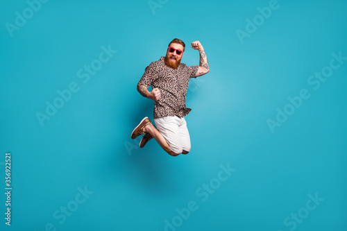 Photographie Full length body size view of his he nice attractive crazy lucky overjoyed cheer