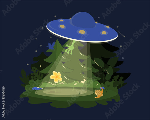Photo UFO abducts a flower in the forest