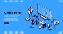 Online Party Banner. Virtual M...