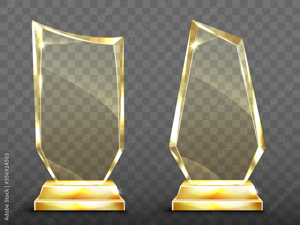Fototapeta Glass trophy on gold base, transparent crystal winner award. Vector realistic blank clear acrylic prizes to best film, achievement, sport victory or academy success isolated on transparent background