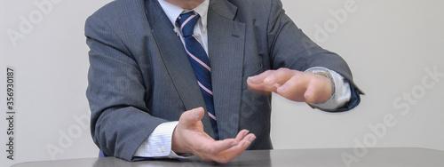 Fototapeta 身振り手振りのジェスチャーを交えて話しをするビジネスマン 手元アップ