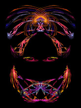 Colorful Sketch Of The Head Of A Woman Wearing A Mask Or Veil And A Turban With Only Her Eyes Visible. Fractal Illustration Isolated On Black.