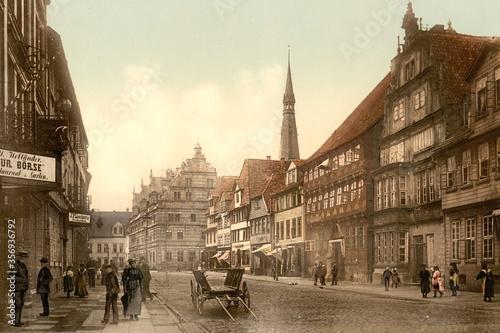Hameln alte Stadtansicht von 1890 Canvas Print