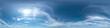 Leinwandbild Motiv Nahtloses Panorama mit blau-weißem Himmel 360-Grad-Ansicht mit schöner Cirrus-Bewölkung zur Verwendung in 3D-Grafiken als Himmelskuppel oder zur Nachbearbeitung von Drohnenaufnahmen
