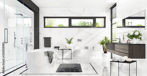 Photo Large white bathroom with bath and shower