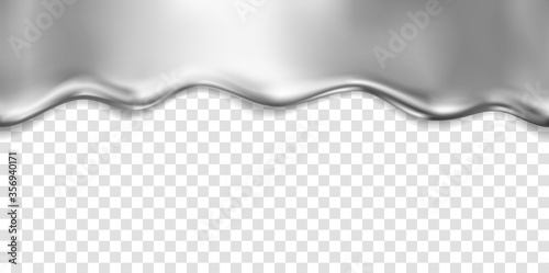 Obraz Silver foil drip pattern isolated on transparent background. Chrome, steel, metal flow texture. Vector glossy gradient liquid border template. - fototapety do salonu