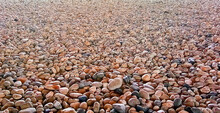 Colorful Pebble Stone Texture On The Ground. Nature Stone Background