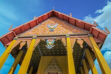 Ant's Eye View Of Ancient Traditional Gable Roof, Nan Style Art, Wat Phra That Chang Kham Voravihara, Nan Province, Northern Of Thailand.