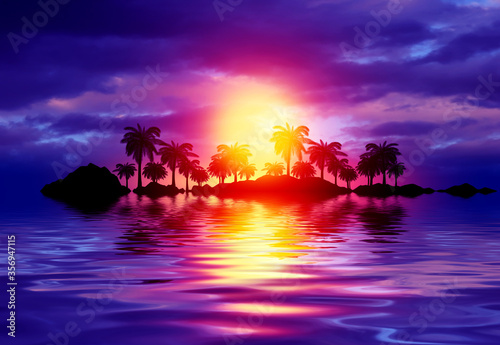 Obraz Empty tropical background of night sea beach. Silhouettes of tropical palm trees on a background of bright sunset. 3d illustration - fototapety do salonu
