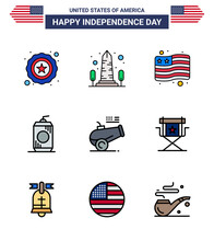 Editable Vector Line Pack Of USA Day 9 Simple Flat Filled Lines Of Howitzer; Big Gun; Country; Usa; Cola