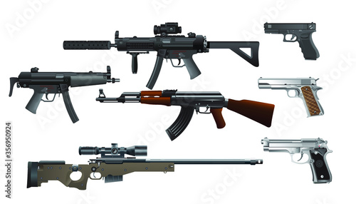 Fotografie, Obraz Collection of weapon