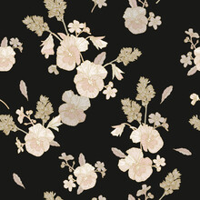 Vector Floral Seamless Pattern With Beige Pansies, And Forget Me Not Flowers On Black Background