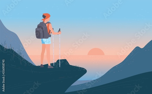 Obraz Woman with backpack standing his back of top mountain and looking on sea, sunrise. Concept of hiking, adventure tourism, travel and discovery. Explorer or traveller flat vector illustration. - fototapety do salonu