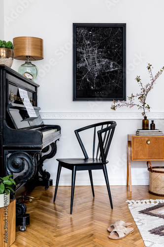 Stylish concept of mock up poster map with black piano, design chair, furniture, spring flowers, cacti, table lamp, carpet and elegant presonal accessories in modern home decor.