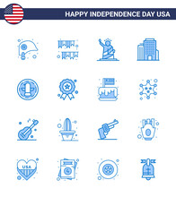16 Blue Signs For USA Independence Day American; Office; Party; Building; Statue