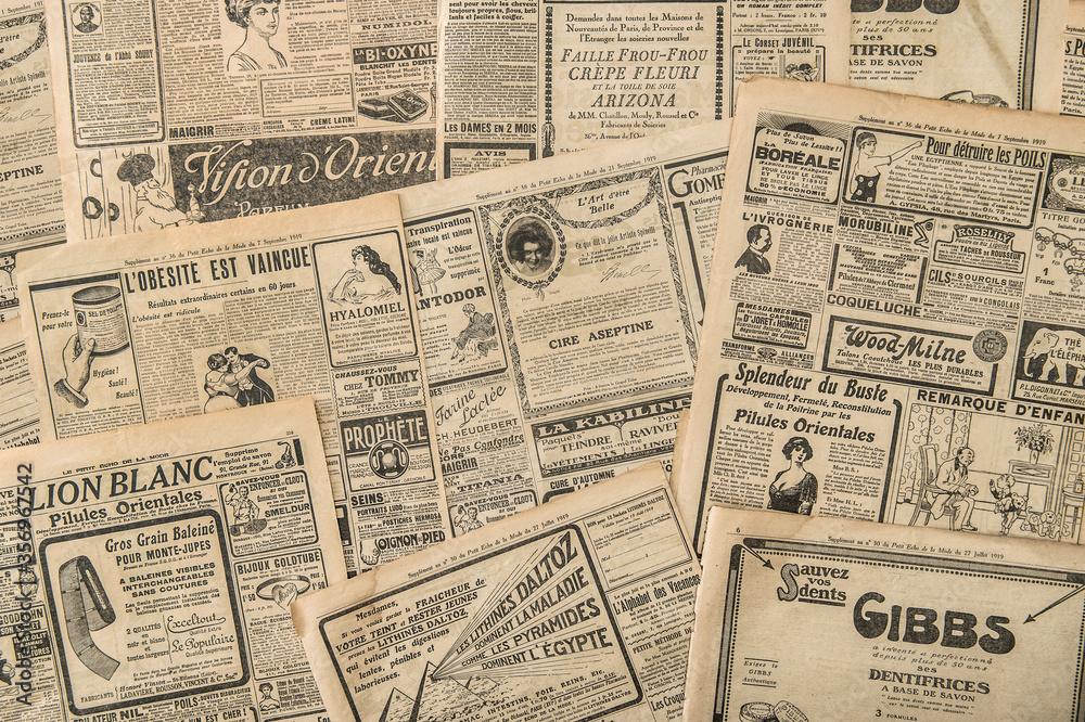 Fototapeta Newspaper pages antique advertising Vintage fashion magazine