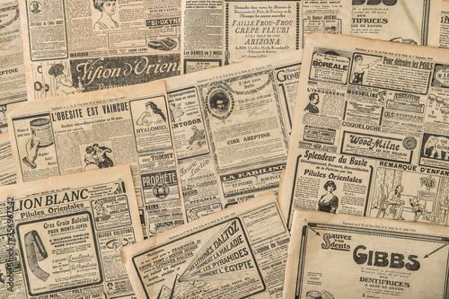 Fototapeta Newspaper pages antique advertising Vintage fashion magazine obraz